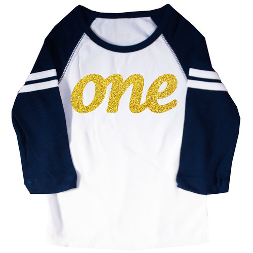 First Birthday One Gold Glitter Ink Raglan T Shirt Happy Family