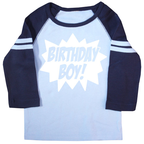 Superhero Birthday Boy Light Blue And Navy Raglan T Shirt AMZBirthdayBoyNavyRaglan