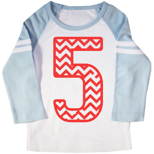 Fifth Birthday Chevron Striped Raglan T Shirt Happy Family Clothing