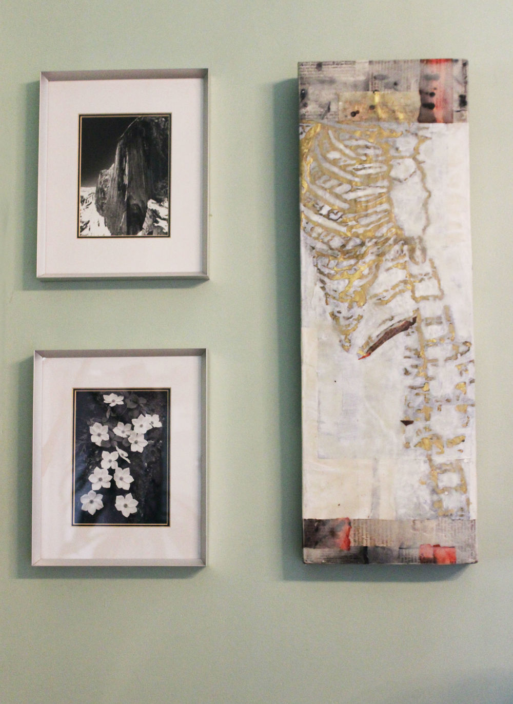 Rectangular: Creating creative shapes is a great start for smaller groupings. The smaller framed works pair well with the encaustic artwork for an eclectic yet modern fit, and their rectangular` format is very classic and alluring.