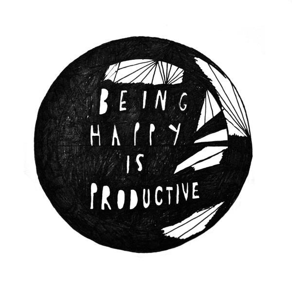 being happy is productive illustration