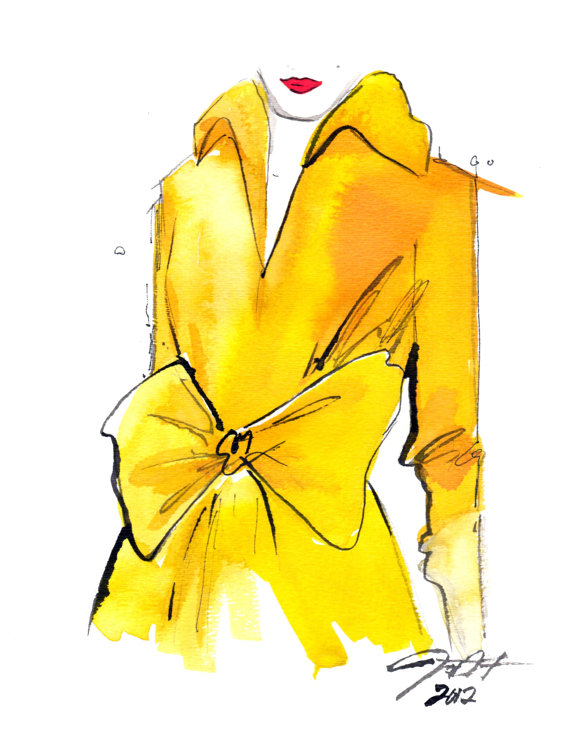 jessica illustration yellow trench