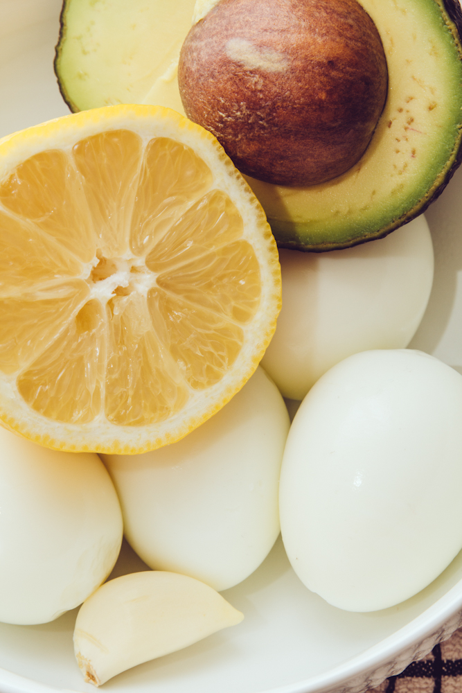 Ingredients for avocado deviled eggs