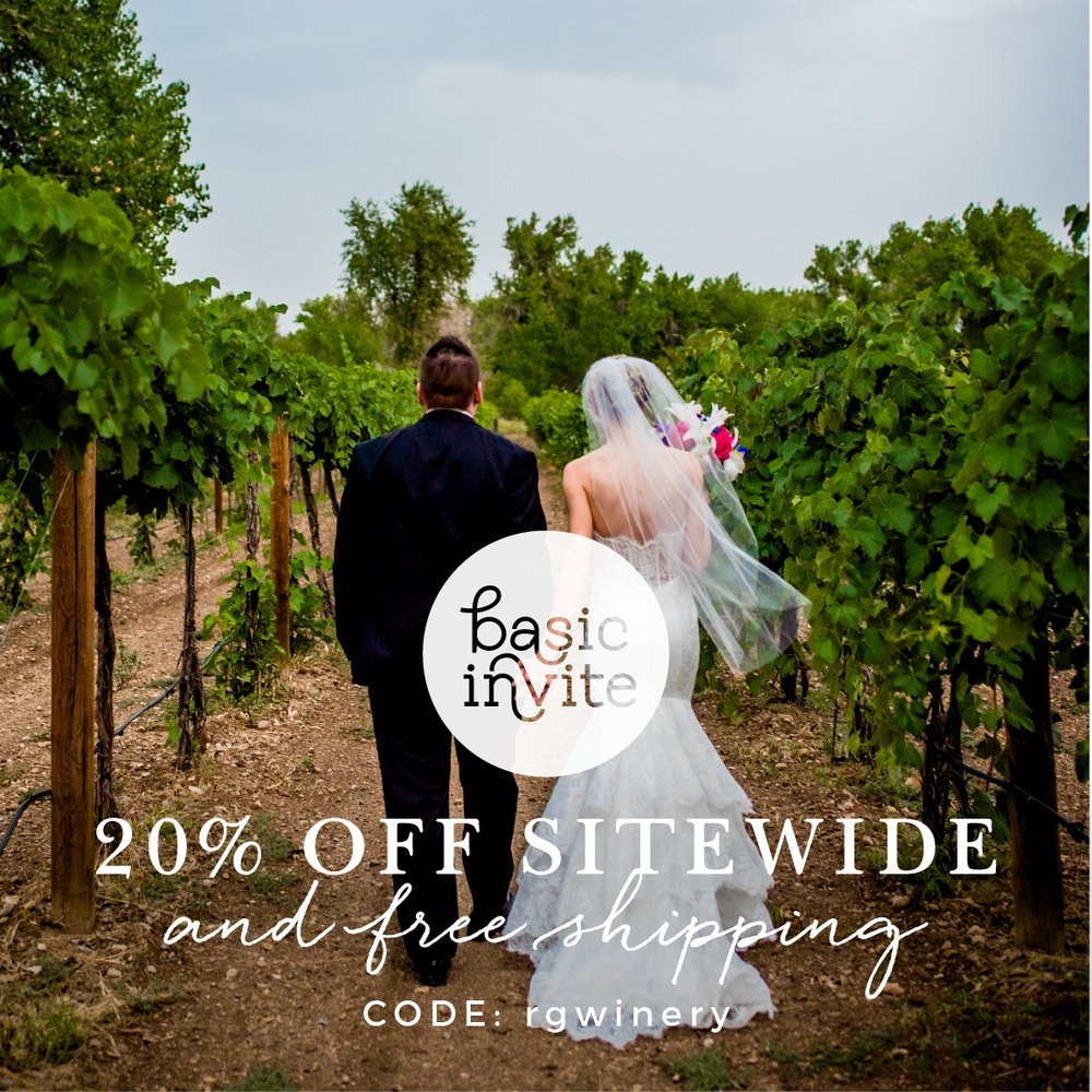 20% off invitations and free shipping- use code above