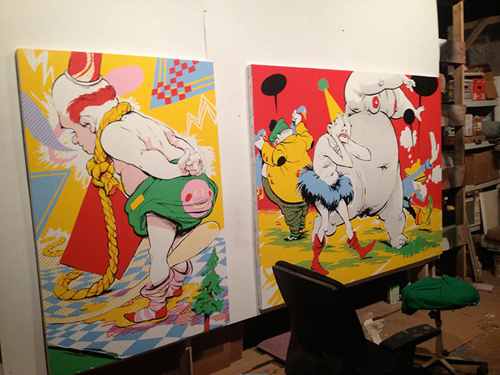My Neck, My Back... and Dickfor WIP at Widowmaker Studios, gearing up for a show at the Fort Wayne Museum of Art