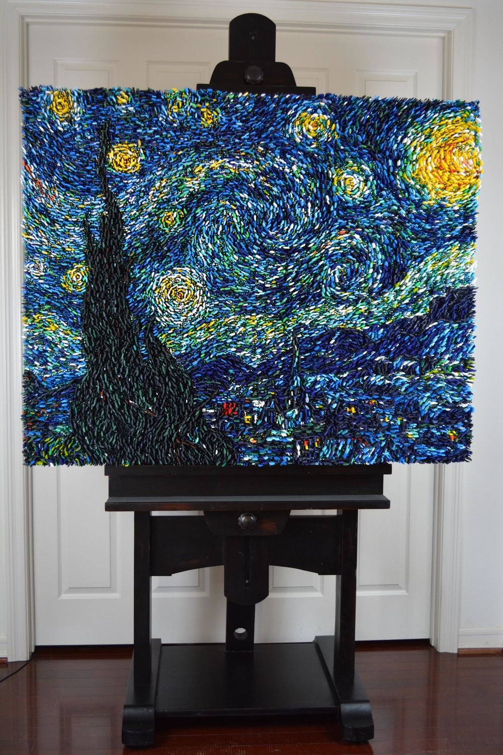 """Starry"" on it's custom easel"
