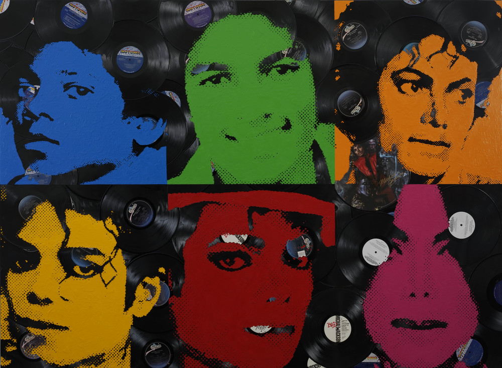 """King of Pop"" with 33 hand cut vinyl records"