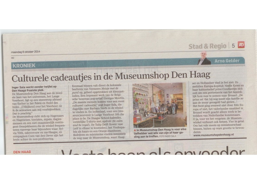Great article in the Algemeen Dagblad (Netherlands) October 6, 2014