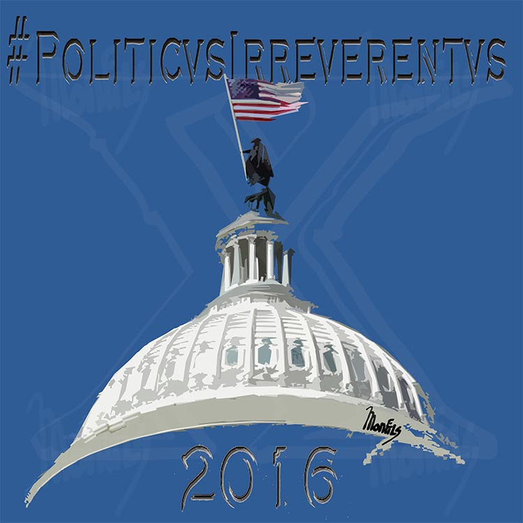 """#PoliticusIrreverentus"" Design for upcoming Political satire Cartoons"