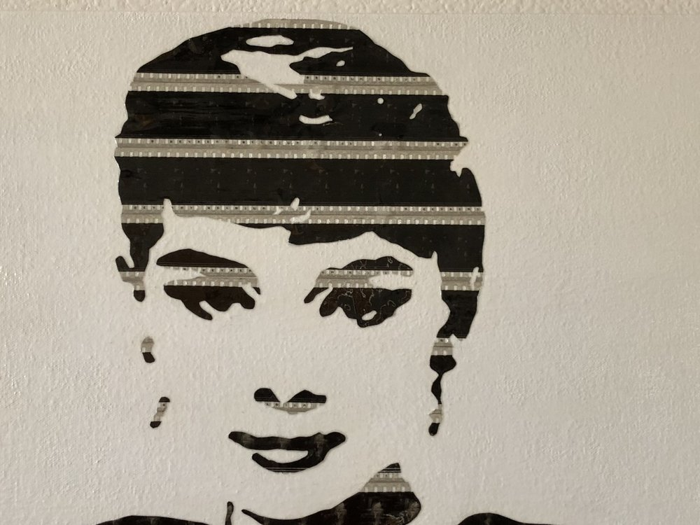 """Audrey"" Using vintage theatrical 35mm film on canvas"