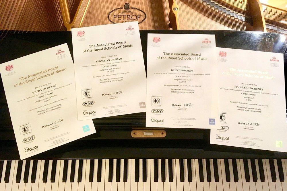 D Piano Studio ABRSM certificate