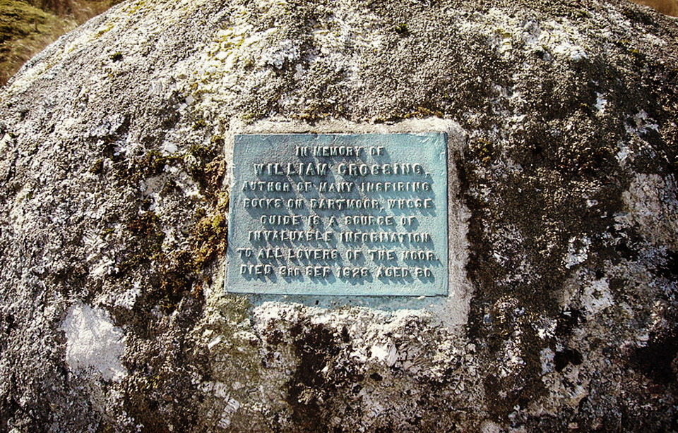 Memorial to William Crossing:William Crossing at Duck's Pool in central southern Dartmoor