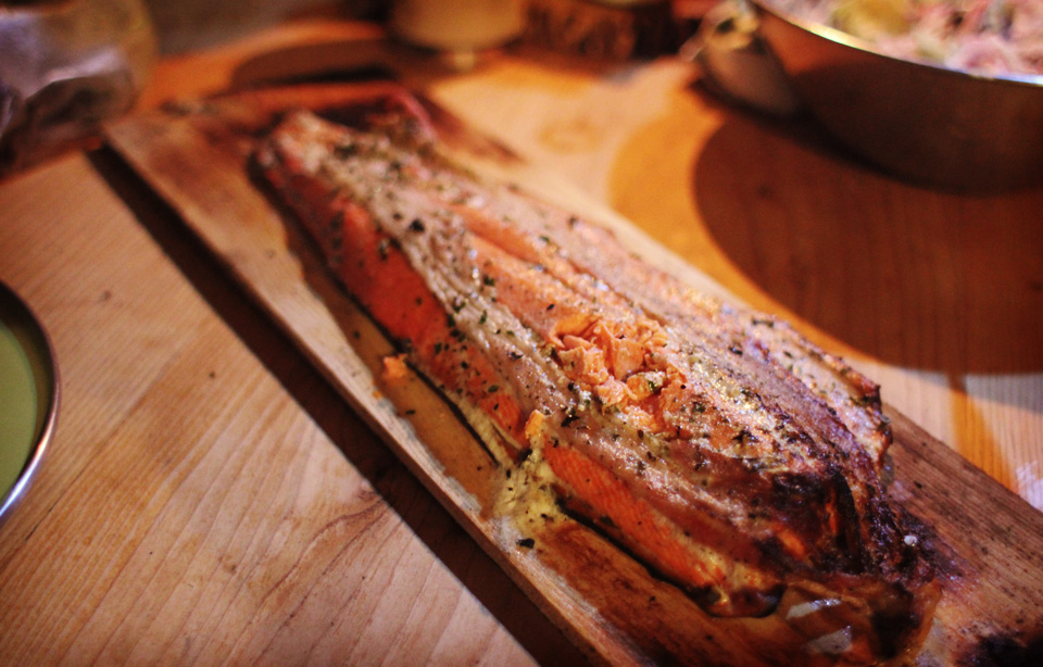 Planked Salmon Finished and Ready to Serve