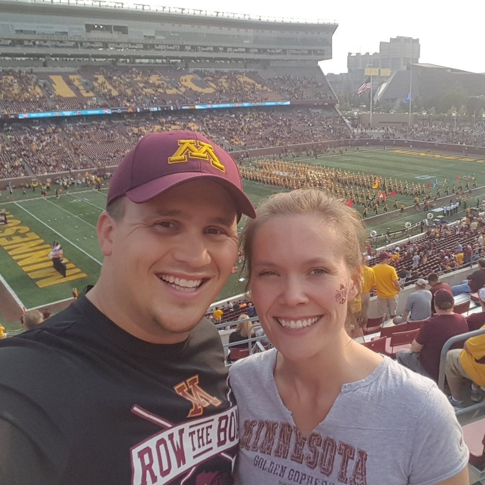 Heidi and her fiance at the gopher game
