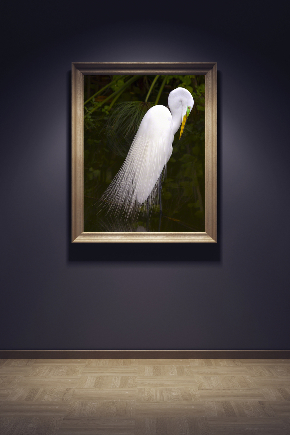 Gallery wall with egret in place.jpg