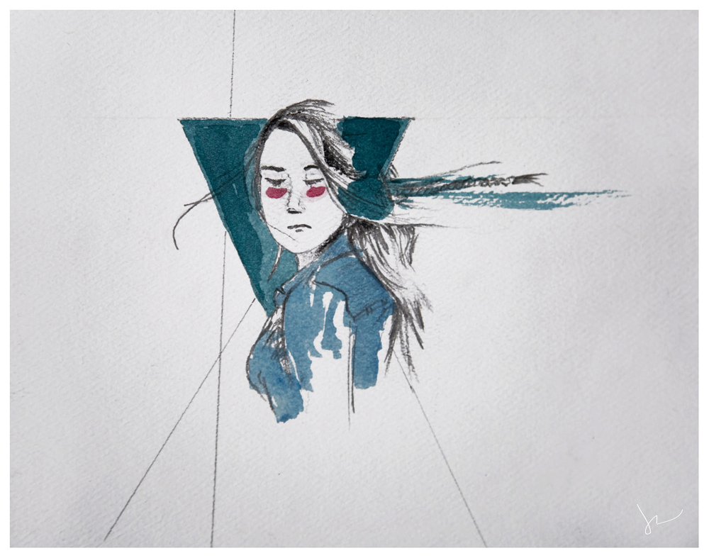 """Glance""  by Joey Rudd.  Watercolour and Charcoal  - colour"