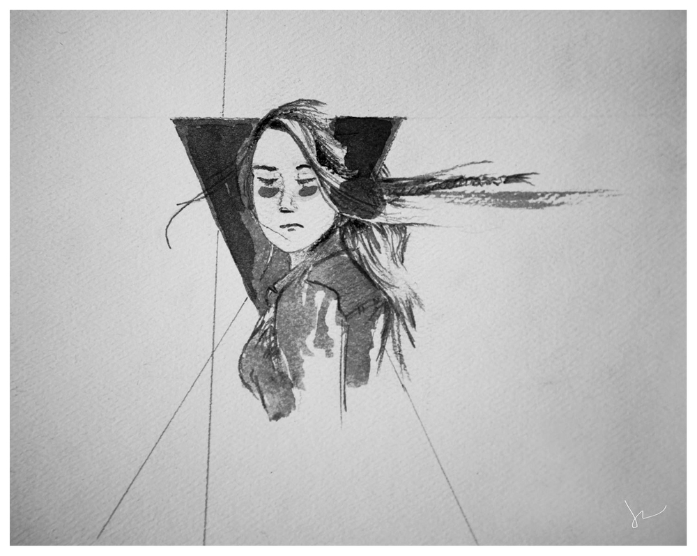 """Glance""  by Joey Rudd.  Watercolour and Charcoal  - black and white"