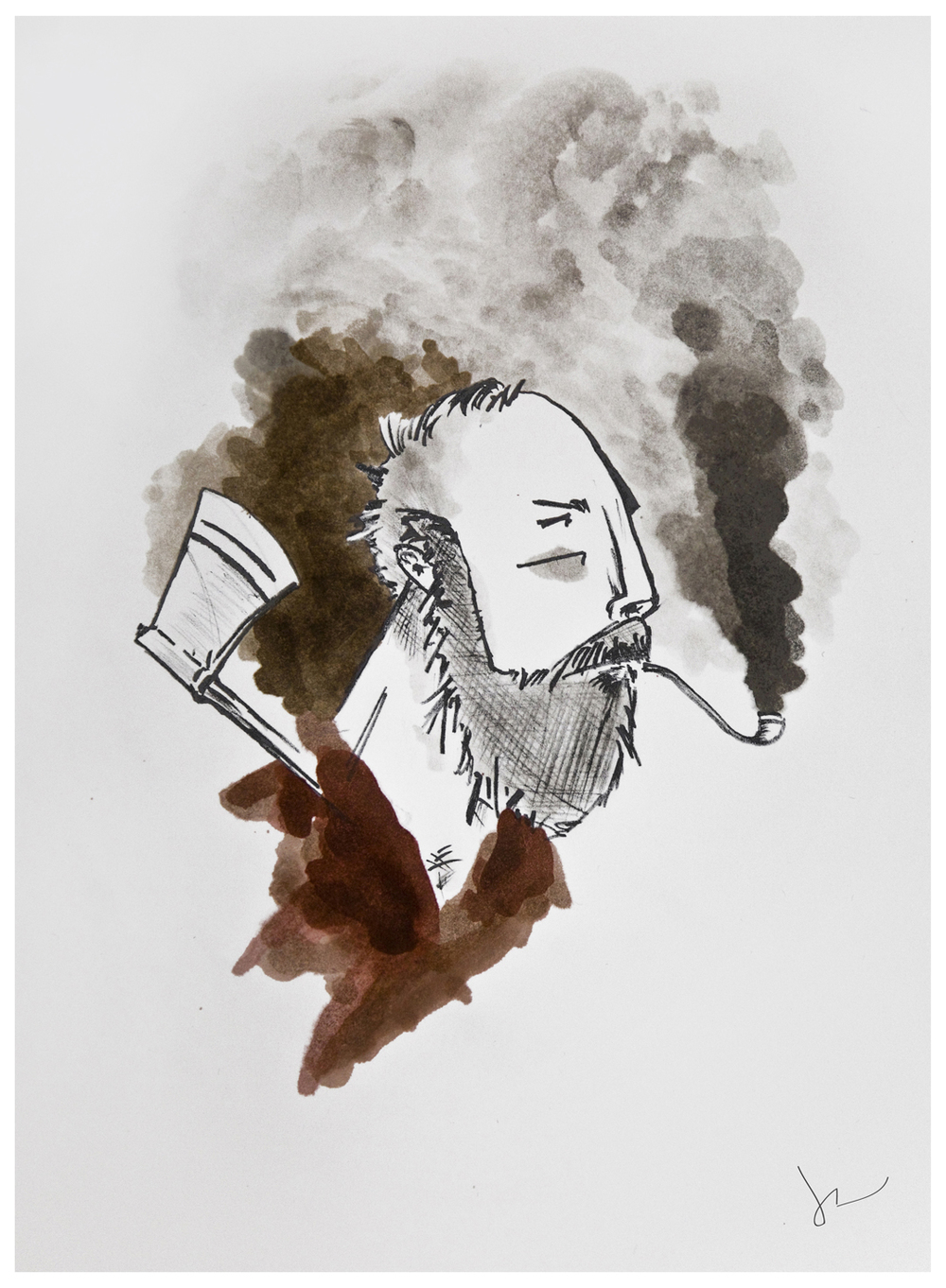 """The Lumberjack""  by Joey Rudd.  Watercolour and Graphite"