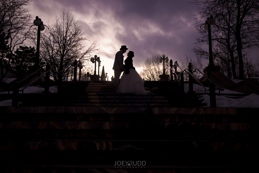 Dramatic Sunset Winter Wedding Photographer