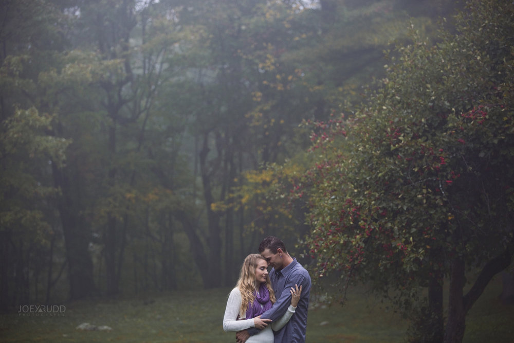 Foggy Engagement session at Mackenzie King Estate by Ottawa Wedding Photographer Joey Rudd Photography