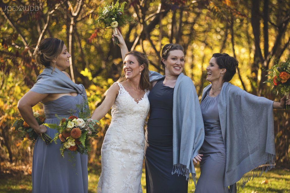 Ottawa Fall Wedding by Wedding Photographer Joey Rudd Photography Bridesmaids Fun Photo