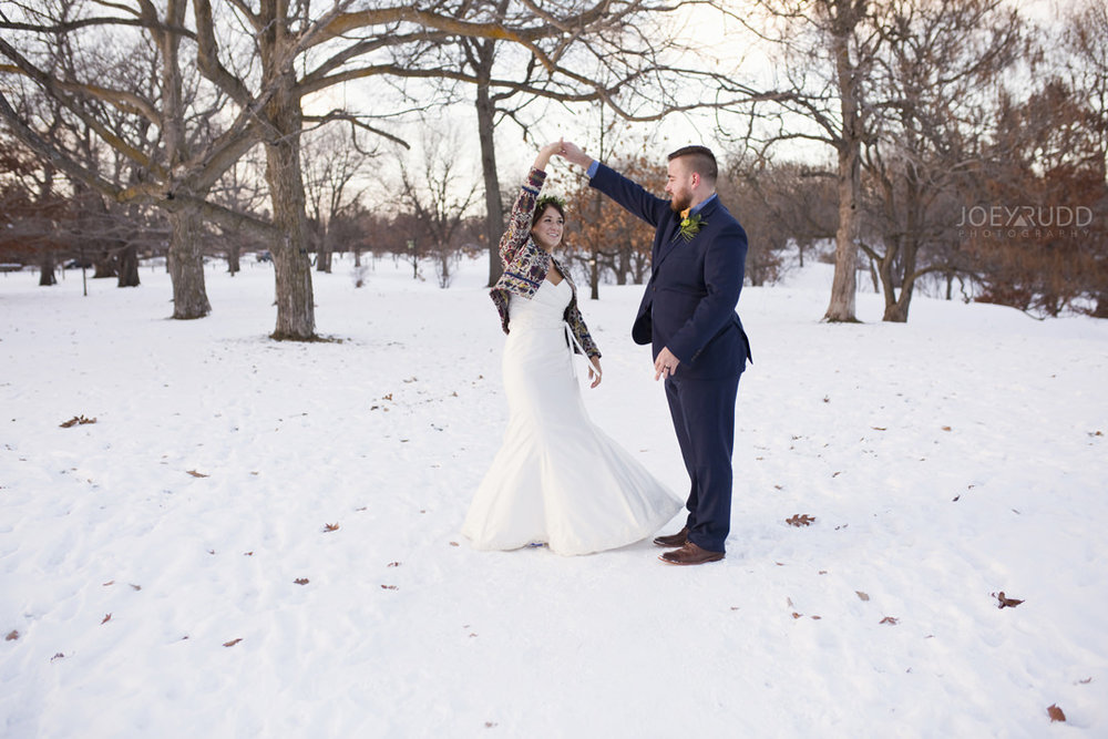 Ottawa Wedding at the Arboretum by Ottawa Wedding Photographer Joey Rudd Photography Dancing in the snow Winter Wedding Photo