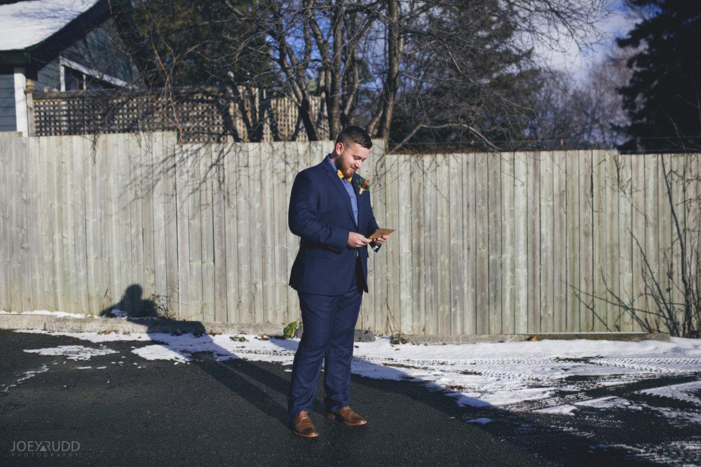 Ottawa winter wedding by ottawa wedding photographer Joey Rudd Photography Groom