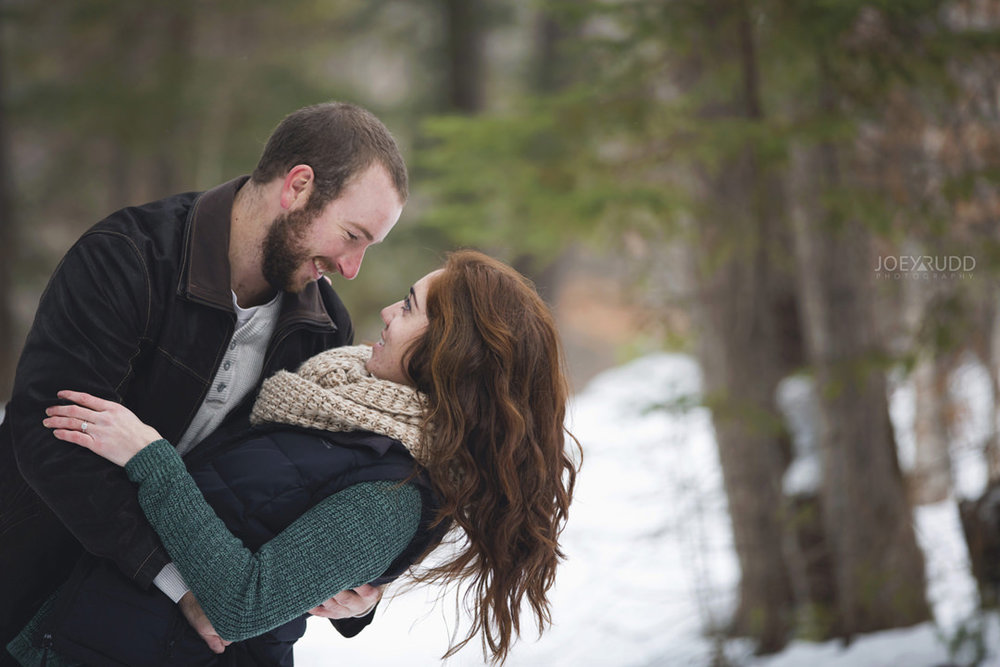 Almonte Engagement at the Mill of Kintail by Ottawa Wedding Photographer Joey Rudd Photography Winter dipping pose