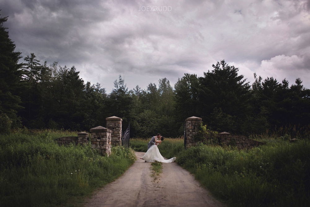 Val-des-Monts Wedding by Ottawa Wedding Photographer Joey Rudd Photography Cottage Wedding stormy gate europe