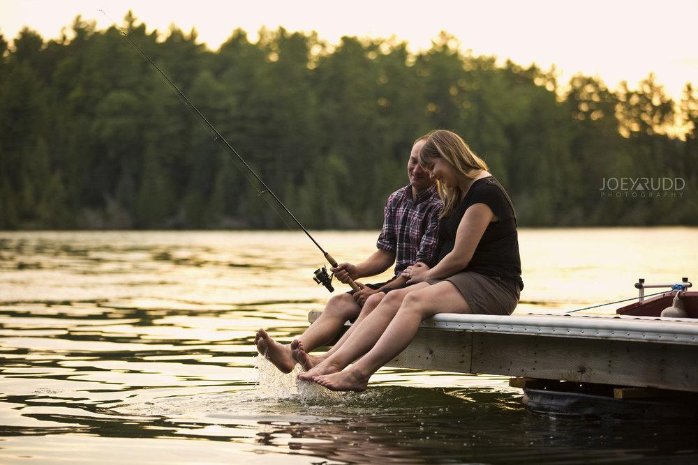 Cottage Engagement Session by Ottawa Wedding Photographer Joey Rudd Photography Sunset Dock Fishing Renfrew