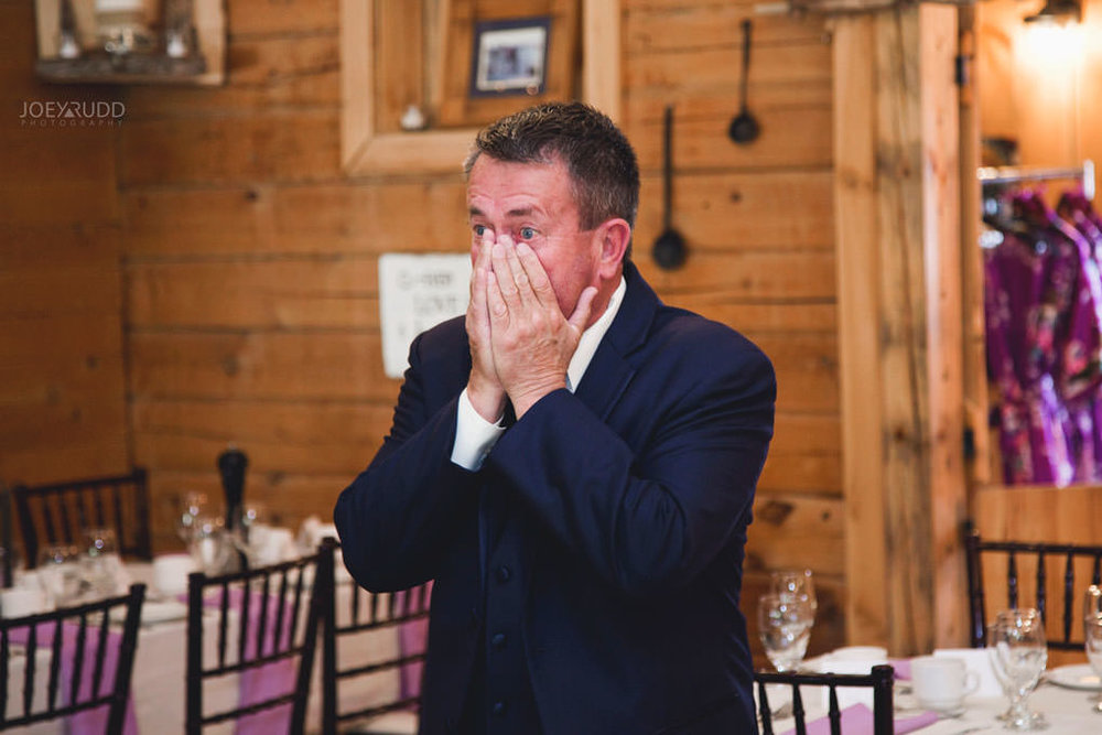 Bean Town Ranch Wedding by Ottawa Wedding Photographer Joey Rudd Photography Father of the Bride Reaction First Look Wedding Dress