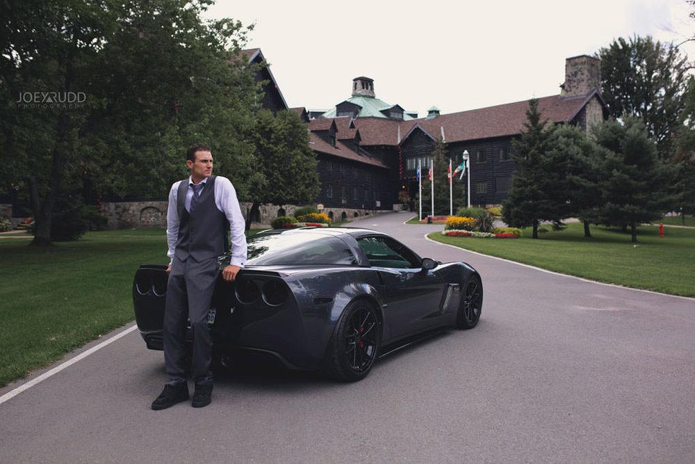 Ottawa & Quebec Wedding Photography by Ottawa Wedding Photographer Joey Rudd Photography Wedding at Fairmont Chateau Montebello Corvette