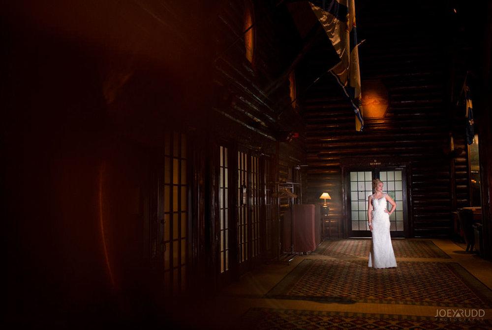 Ottawa & Quebec Wedding Photography by Ottawa Wedding Photographer Joey Rudd Photography Wedding at Fairmont Chateau Montebello Piper Avenue Wedding Lodge Hallway Bride