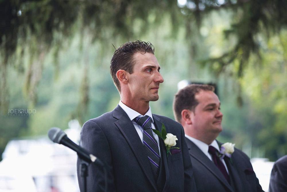 Ottawa & Quebec Wedding Photography by Ottawa Wedding Photographer Joey Rudd Photography Wedding at Fairmont Chateau Montebello Piper Avenue Wedding Ceremony Gazebo Groom emotional cry tears