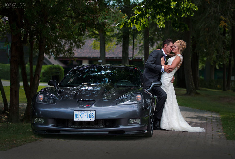 Fairmont Chateau Montebello Wedding by Ottawa Wedding Photographer Joey Rudd Photography Corvette