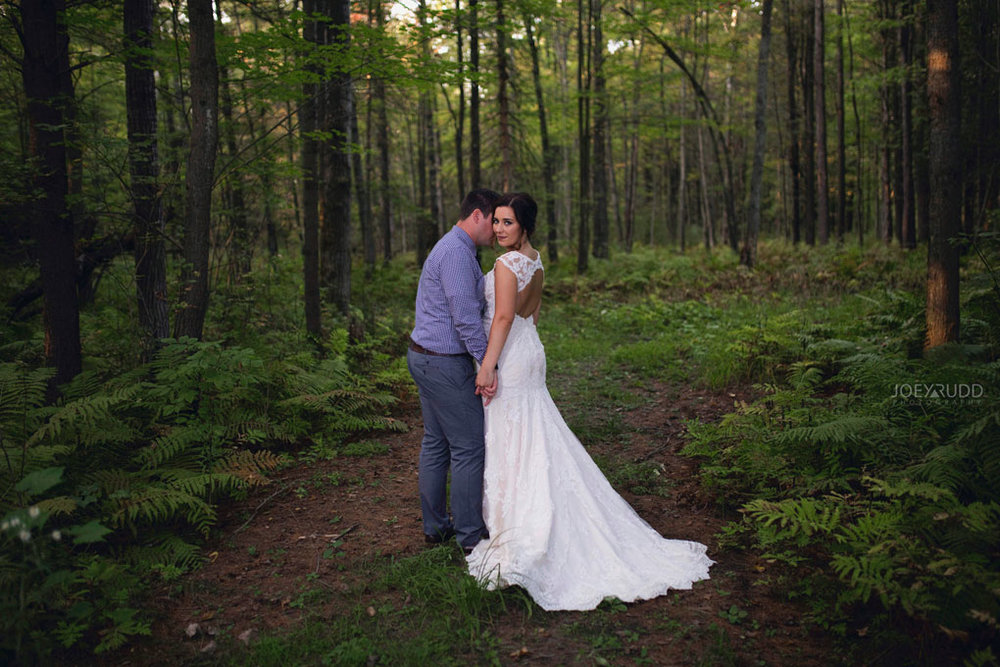 Bean Town Ranch Wedding by Ottawa Wedding Photographer Joey Rudd Photography Bridal Couple Forest
