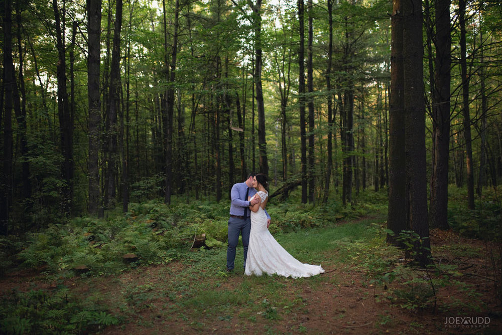 Bean Town Ranch Wedding by Ottawa Wedding Photographer Joey Rudd Photography Bridal Couple Trees Forest
