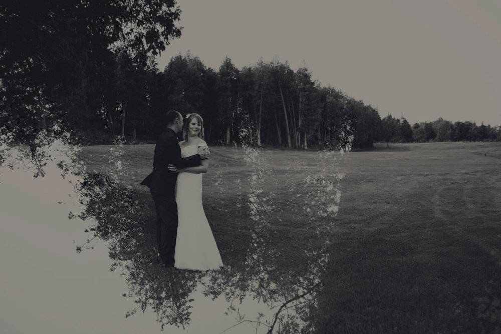 Sand Point Golf Course Wedding in Arnprior by Ottawa Wedding Photographer Joey Rudd Photography Bride and Groom Double Exposure Interesting