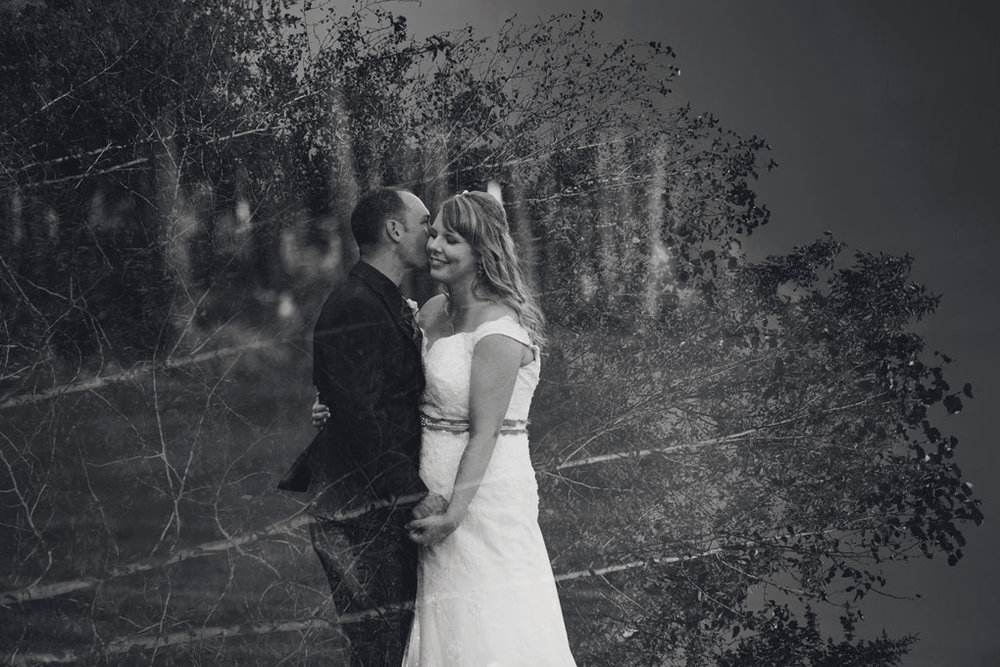 Sand Point Golf Course Wedding in Arnprior by Ottawa Wedding Photographer Joey Rudd Photography Bride and Groom Trees Double Exposure