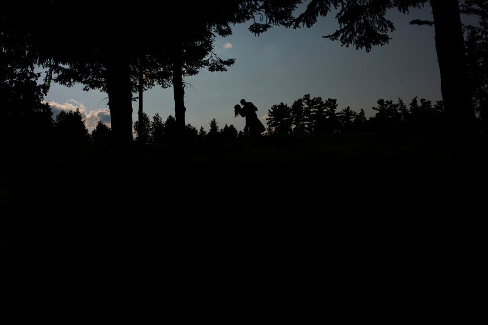Sand Point Golf Course Wedding in Arnprior by Ottawa Wedding Photographer Joey Rudd Photography Bride and Groom Silhouette
