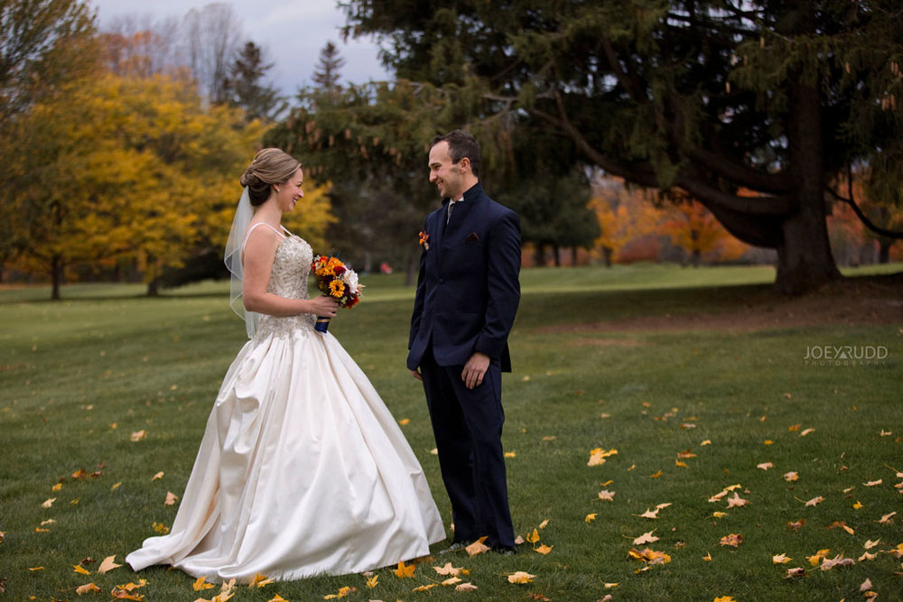 Fall Wedding at the Royal Ottawa Golf Course by Joey Rudd Photography  First Look Cute