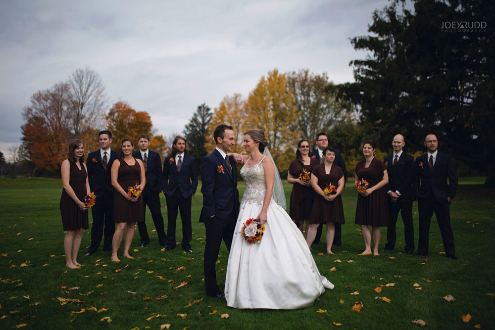 Fall Wedding at the Royal Ottawa Golf Course by Joey Rudd Photography  Wedding Party Bride and Groom