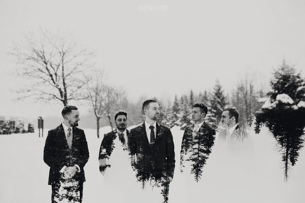Winter Wedding in Ottawa at Greyhawk Golf Club by Ottawa Wedding Photographer Joey Rudd Photography Wedding Party Double Exposure