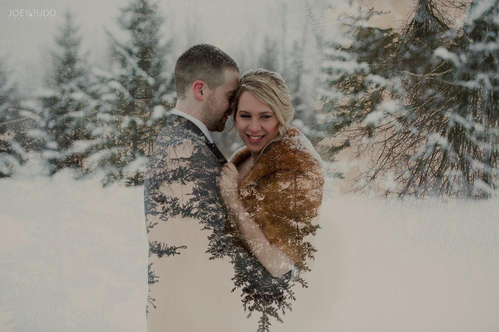 Winter Wedding in Ottawa at Greyhawk Golf Club by Ottawa Wedding Photographer Joey Rudd Photography Double Exposure Couple