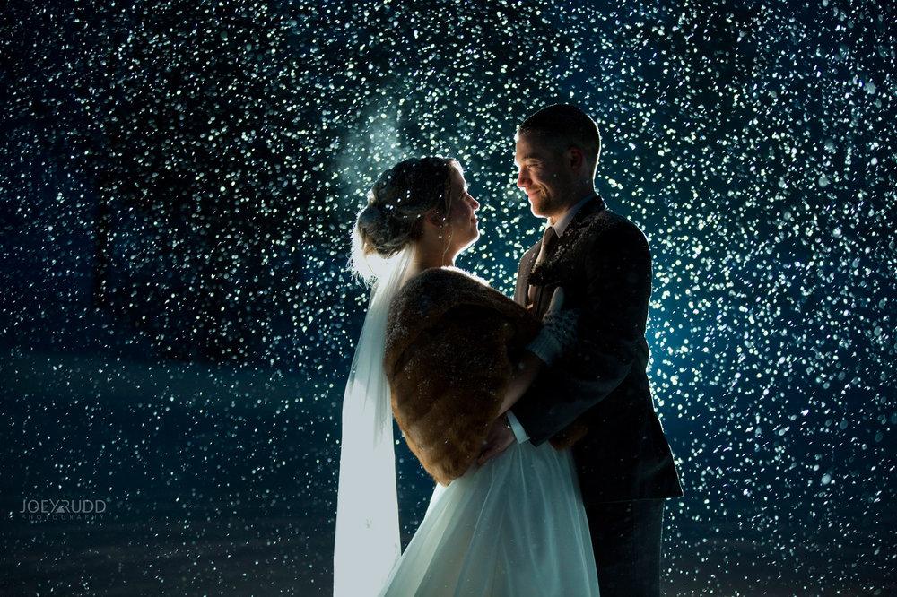 Winter Wedding in Ottawa at Greyhawk Golf Club by Ottawa Wedding Photographer Joey Rudd Photography Snow Falling at Night