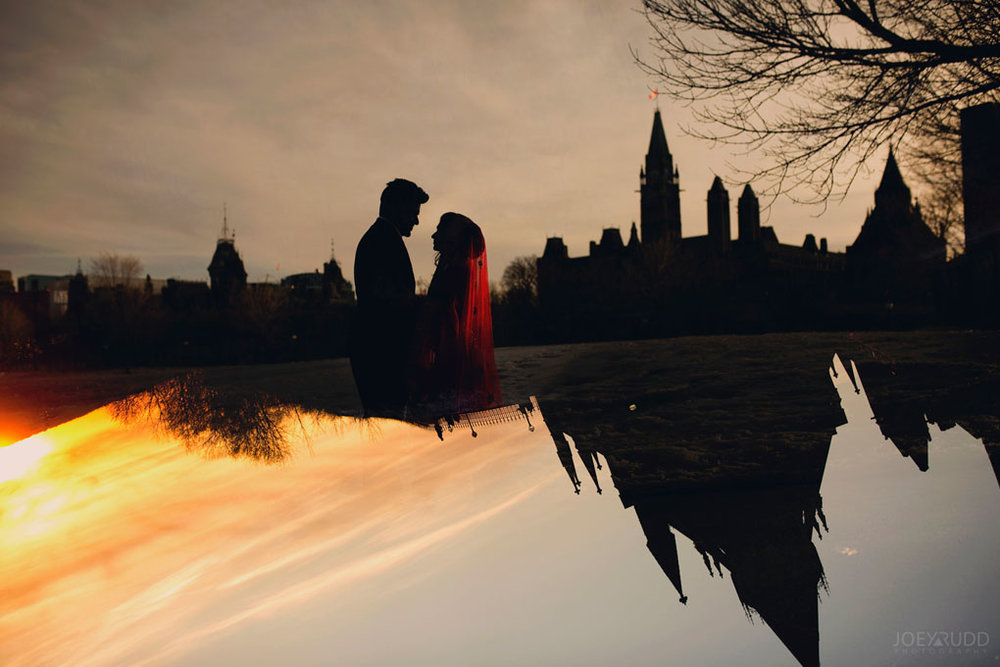 Elopement Wedding Photographer in Ottawa Joey Rudd Photography Parliament Sunset Double Exposure
