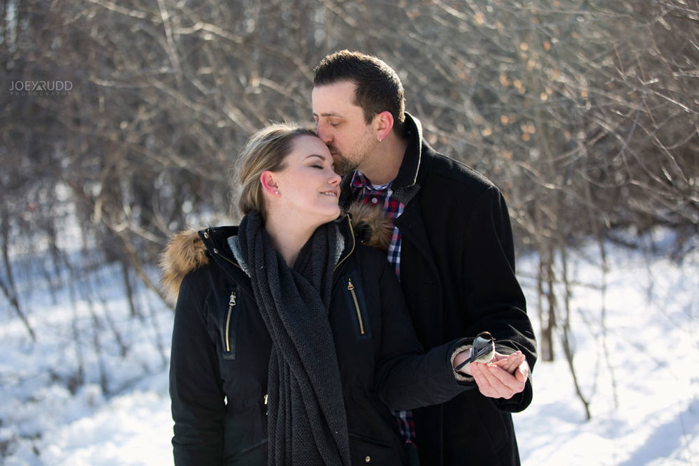 Mer Bleue Engagement, Ottawa Engagement, Engagement Photos, Engagement Photographer, Ottawa Wedding Photographer, Joey Rudd Photography, Ottawa Photographer, Winter Photos, Photo Location, Posing, Chickadee