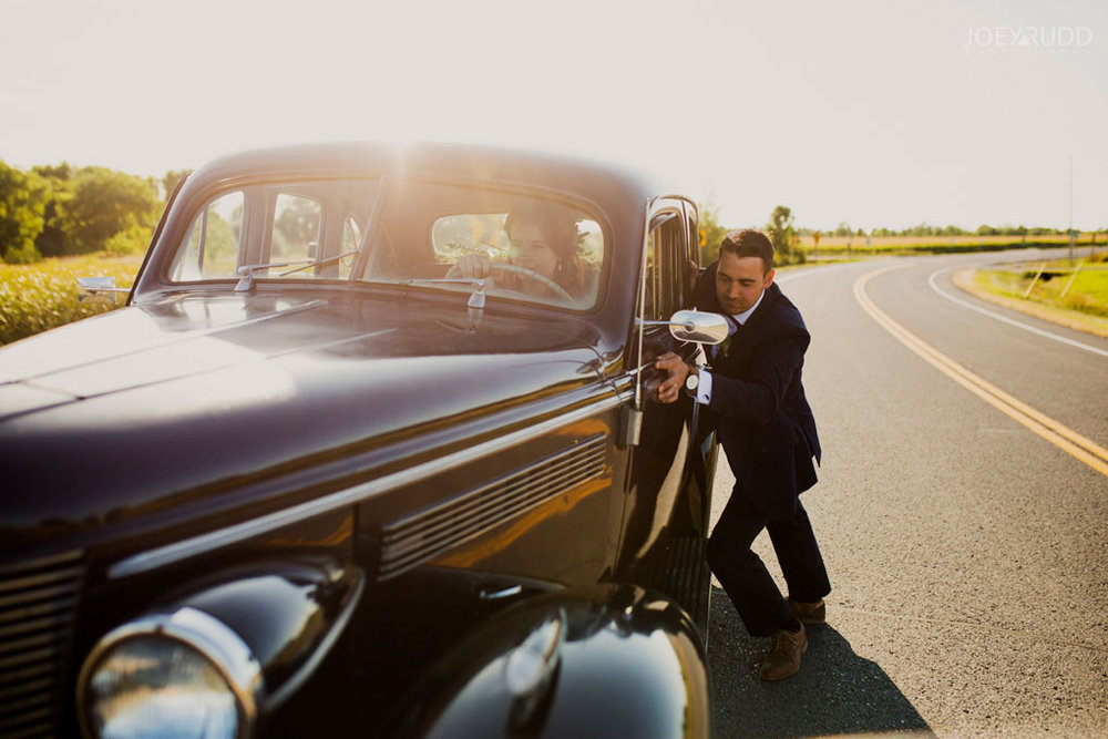 Farm Wedding, Ottawa Wedding, Ottawa Wedding Photographer, ottawa photography, ottawa wedding photography, joey rudd photography, ottawa photographer, wedding photos, wedding photo inspiration, rustic wedding, farm, natural photos, candid wedding photos, bride and groom, wedding photo with old car, candid photos, golden hour, sunset