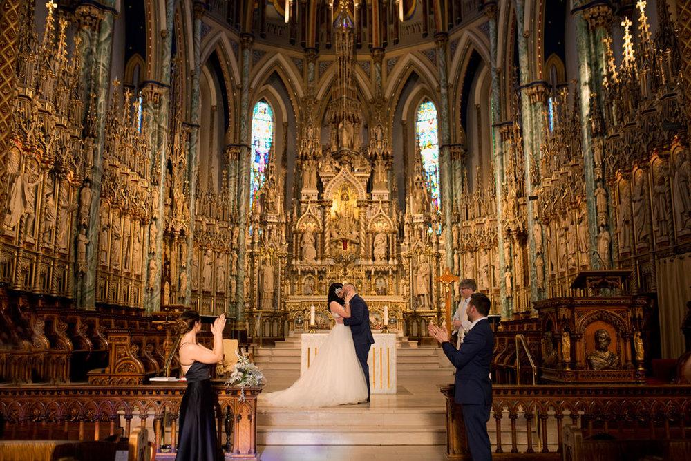Ottawa winter wedding, ottawa wedding photography, ottawa wedding photographer, winter wedding ontario, wedding photos in snow, ceremony, notre dame cathedral, notre dame basilica