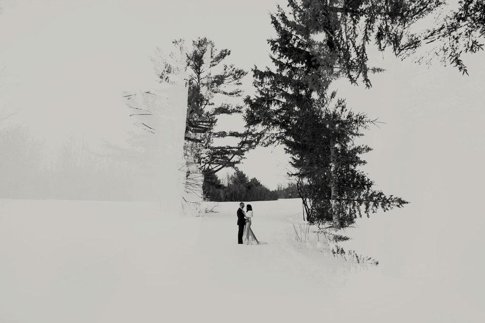 Winter wedding in Ottawa, ottawa wedding, ottawa wedding photographer, ottawa photographer, winter wedding photos, Gatineau Park, Double Exposure